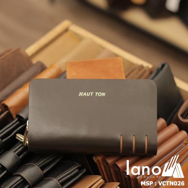 Ví cầm tay nam Lano da bò 2 ngăn kéo thời trang nam tính Hautton VCTN026