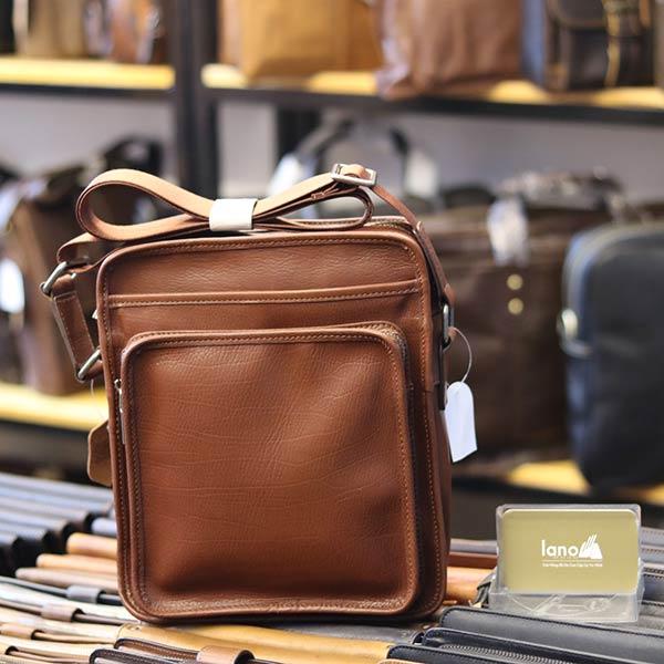 Túi đeo chéo nam Lano da bò mới nhất 2018 KT85 màu nâu