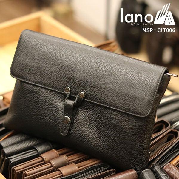 Túi cầm tay da bò thật Lano sang trọng lịch lãm CLT006 - nghiêng