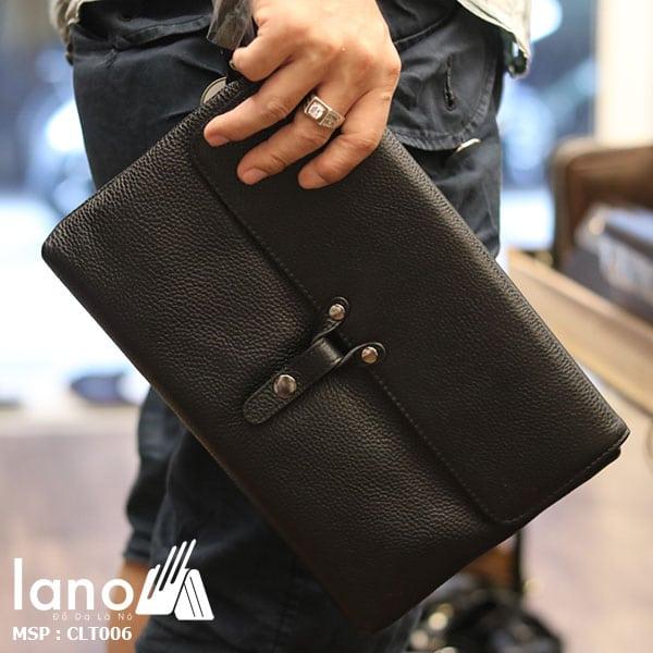 Túi cầm tay da bò thật Lano sang trọng lịch lãm CLT006 - cầm tay