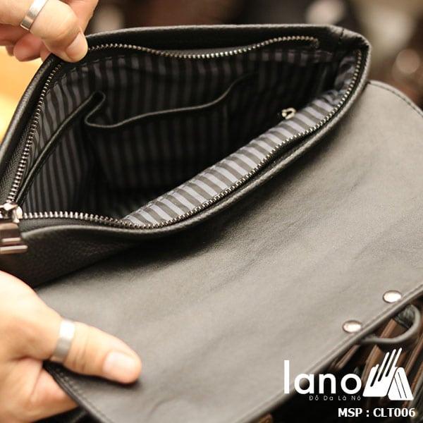 Túi cầm tay da bò thật Lano sang trọng lịch lãm CLT006 - bên trong
