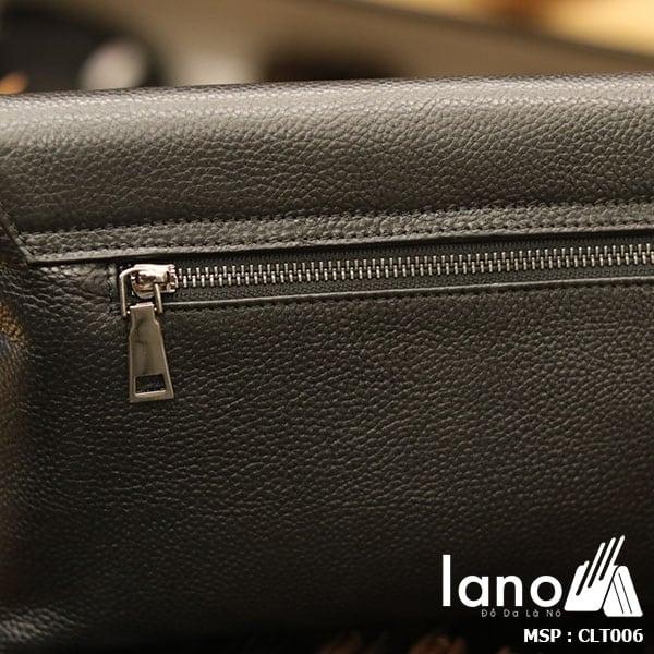 Túi cầm tay da bò thật Lano sang trọng lịch lãm CLT006 - mặt sau