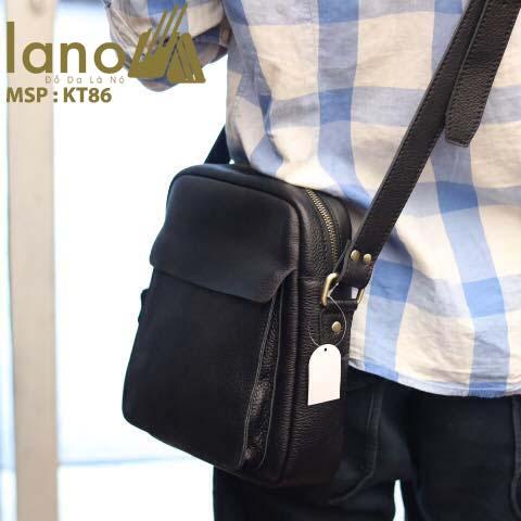 Túi da đeo chéo nam Lano cổ điển phong cách hiện đại KT86 - đeo lưng