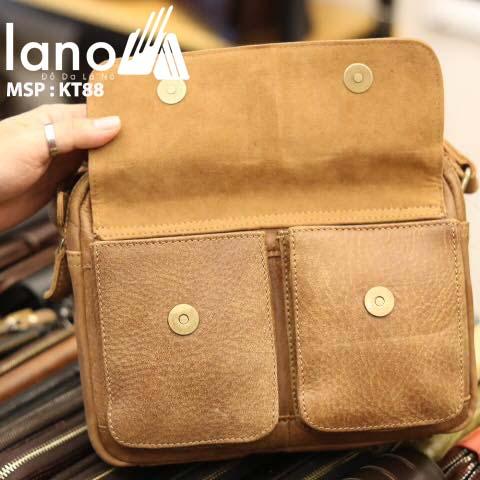 Túi da đeo chéo nam Lano thời trang tiện lợi mới 2018 KT88 - bên trong