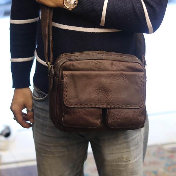 Túi da đeo chéo nam Lano thời trang tiện lợi mới 2018 KT88