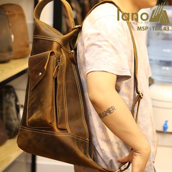 Túi da đeo chéo ngực nam Lano thời trang độc đáo TDL43 đeo vai