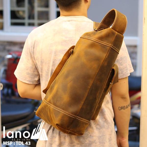 Túi da đeo chéo ngực nam Lano thời trang độc đáo TDL43 đeo sau lưng