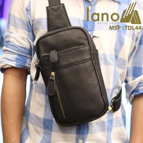 Túi da đeo chéo trước ngực nam Lano thời trang cao cấp TDL44 - đen đeo trước ngực