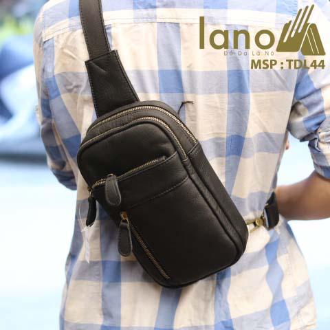 Túi da đeo chéo trước ngực nam Lano thời trang cao cấp TDL44 - đen đeo sau lưng