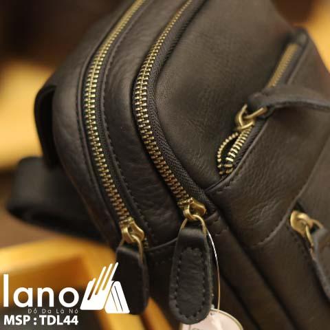 Túi da đeo chéo trước ngực nam Lano thời trang cao cấp TDL44 - đen nghiêng