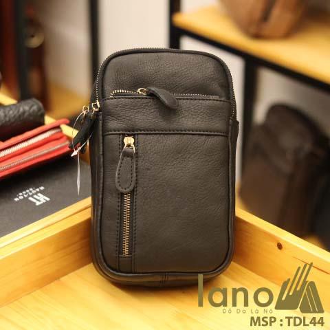Túi da đeo chéo trước ngực nam Lano thời trang cao cấp TDL44 - đen