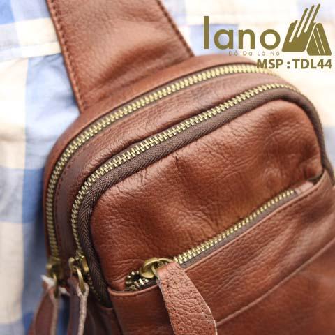 Túi da đeo chéo trước ngực nam Lano thời trang cao cấp TDL44 - nâu đỏ đeo trước ngực