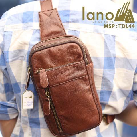 Túi da đeo chéo trước ngực nam Lano thời trang cao cấp TDL44 - nâu đỏ đeo sau lưng