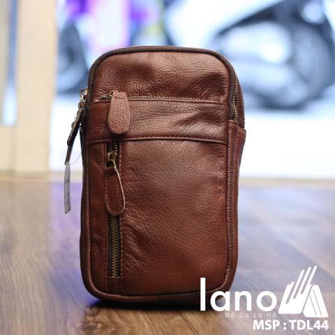 Túi da đeo chéo trước ngực nam Lano thời trang cao cấp TDL44 - nâu đỏ