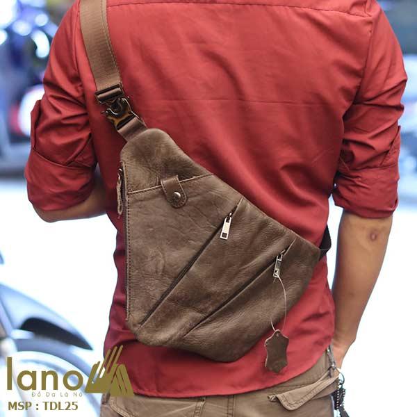 Túi da đeo ngực nam Lano thời trang độc đáo TDL25 - đeo lưng