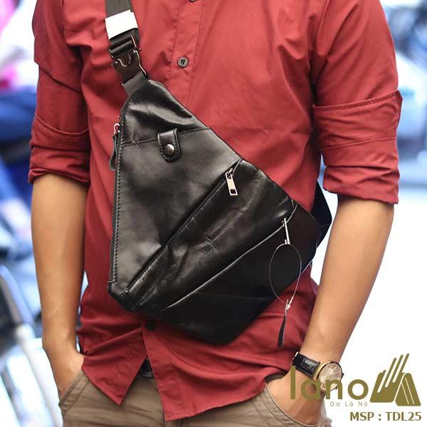 Túi da đeo ngực nam Lano thời trang độc đáo TDL25 - đeo trước ngực