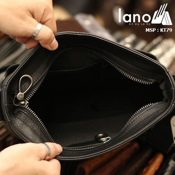 Túi da nam Lano đeo chéo thời trang da bò thật KT79 - bên trong