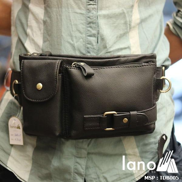 Túi đeo bụng da bò nam Lano nhỏ gọn tiện lợi - đeo bụng
