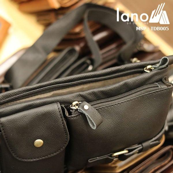 Túi đeo bụng da bò nam Lano nhỏ gọn tiện lợi - mặt trên