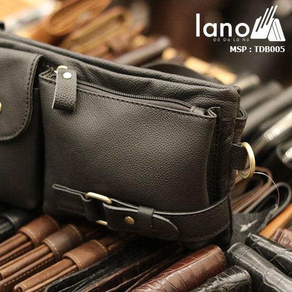 Túi đeo bụng da bò nam Lano nhỏ gọn tiện lợi - nghiêng