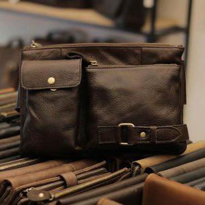 Túi đeo bụng nam da thật thời trang Lano tuyệt đẹp TDB 002