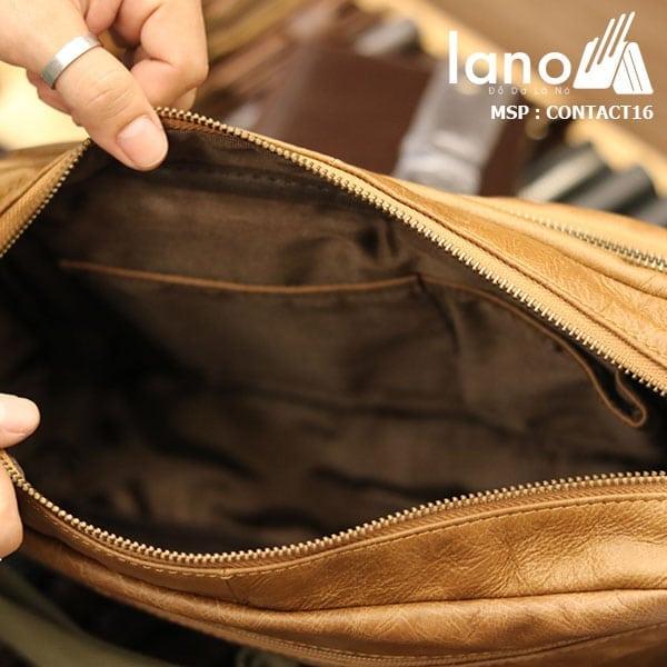 Túi đeo chéo nam công sở Lano thời trang đẳng cấp Contact16 - bên trong