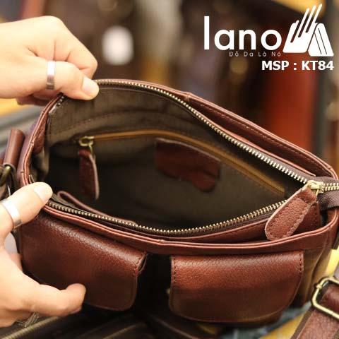 Túi đeo chéo nam da bò thật Lano tiện lợi phong cách bụi bặm mới 2018 KT84 - bên trong