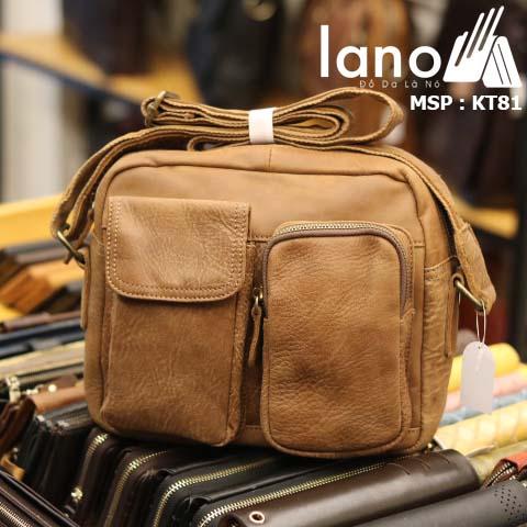 Túi đeo chéo nam Lano da bò thật thời trang bụi bặm KT81 - vàng bò