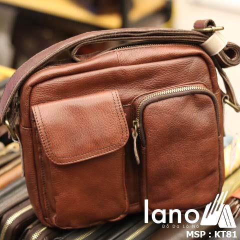 Túi đeo chéo nam Lano da bò thật thời trang bụi bặm KT81 - nghiêng