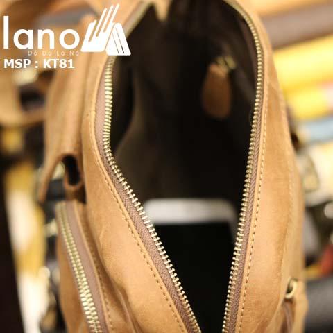 Túi đeo chéo nam Lano da bò thật thời trang bụi bặm KT81 - vàng bò bên trong