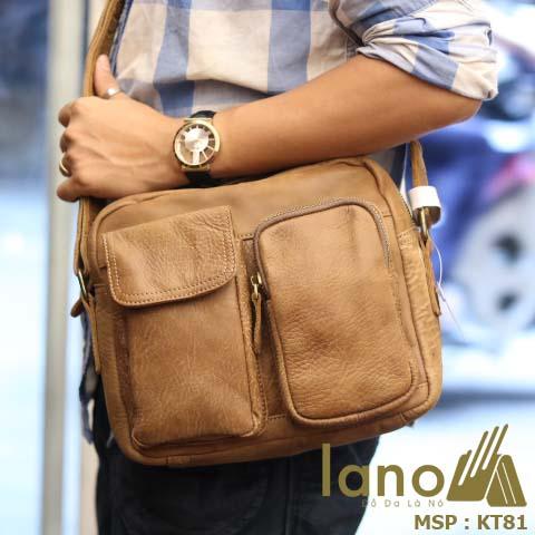 Túi đeo chéo nam Lano da bò thật thời trang bụi bặm KT81 - vàng bò đeo vai