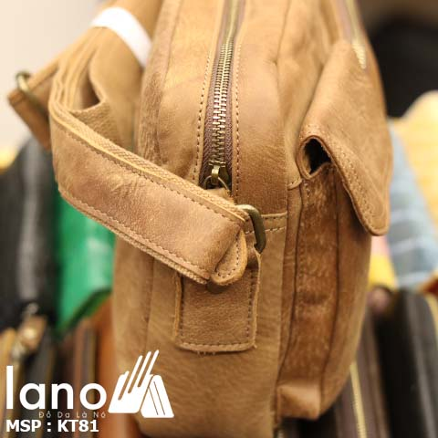 Túi đeo chéo nam Lano da bò thật thời trang bụi bặm KT81 - vàng bò cạnh bên