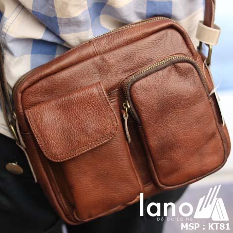 Túi đeo chéo nam Lano da bò thật thời trang bụi bặm KT81 - đeo sau lưng