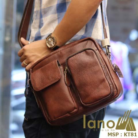 Túi đeo chéo nam Lano da bò thật thời trang bụi bặm KT81 - đeo vai