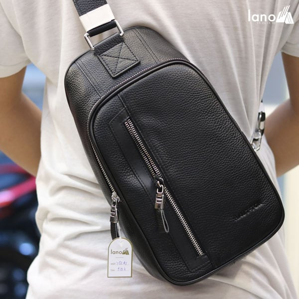 Túi da đeo chéo ngực nam Lano nhỏ gọn thời trang Hautton TDL41 đeo chéo sau lưng