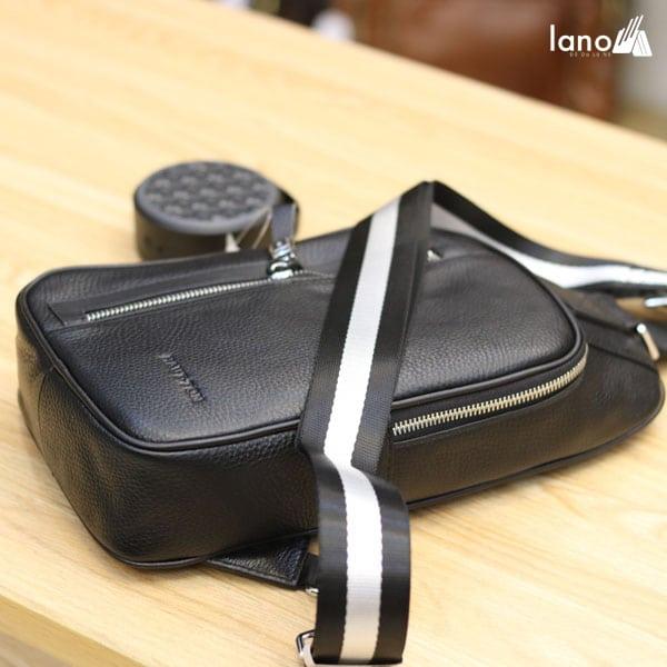 Túi da đeo chéo ngực nam Lano nhỏ gọn thời trang Hautton TDL41 nghiêng
