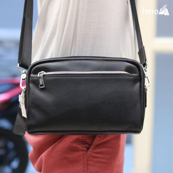 Túi đeo chéo nam Lano da bò trẻ trung năng động KT77 đeo chéo