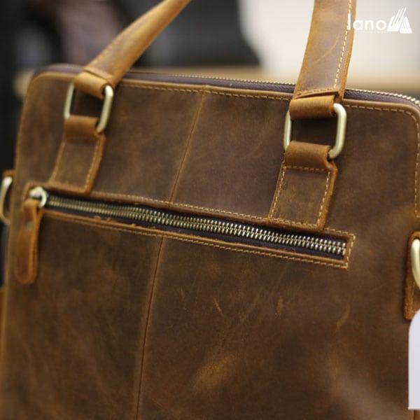 Túi xách nam công sở Lano da bò sáp đeo chéo xách tay KT78 khóa sau