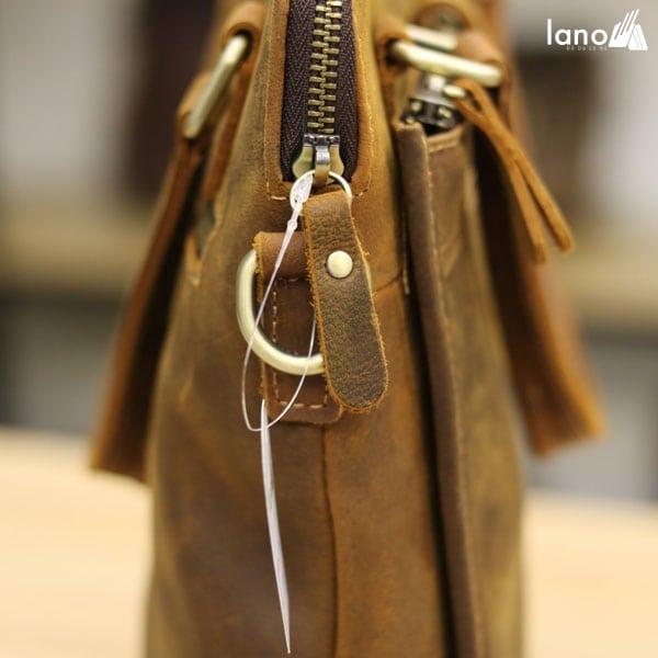 Túi xách nam công sở Lano da bò sáp đeo chéo xách tay KT78 khóa túi