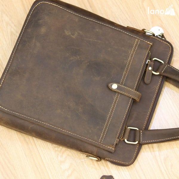 Túi xách nam công sở Lano da bò sáp đeo chéo xách tay KT78 nhìn từ trên