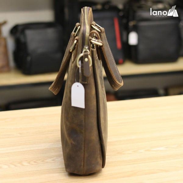 Túi xách nam công sở Lano da bò sáp đeo chéo xách tay KT78 thân túi