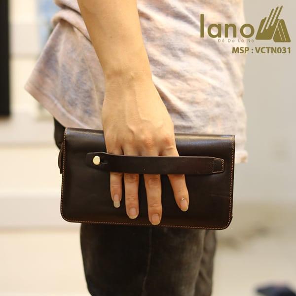 Ví cầm tay nam da bò thời trang Lano nam tính VCTN031 cầm tay
