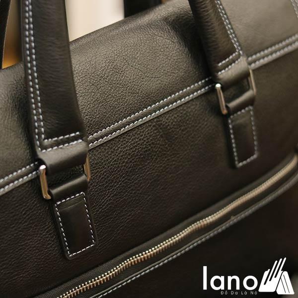 Cặp da nam công sở Lano đựng Macbook gọn nhẹ tiện lợi CD71 - đen nghiêng