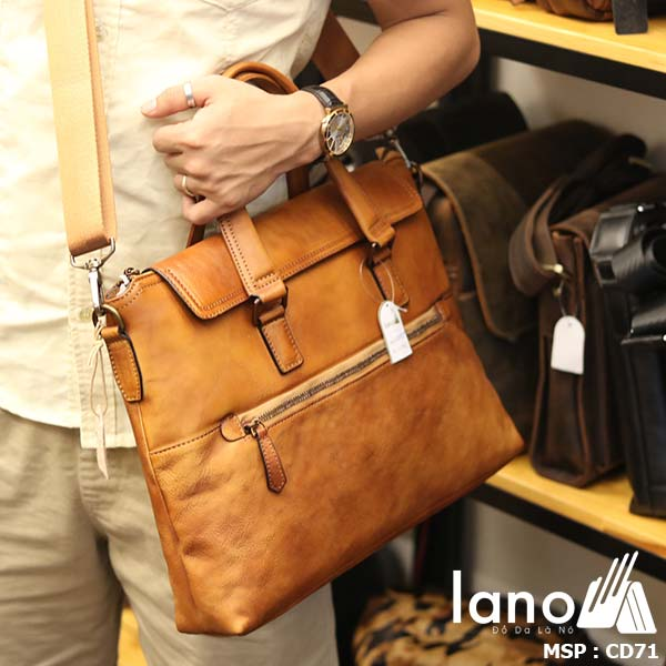 Cặp da nam công sở Lano đựng Macbook gọn nhẹ tiện lợi CD71 - đeo chéo