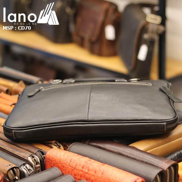 Cặp da nam công sở Lano đựng Macbook nhỏ gọn thời trang CD70 - đáy túi