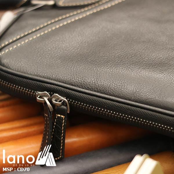 Cặp da nam công sở Lano đựng Macbook nhỏ gọn thời trang CD70 - khóa kéo