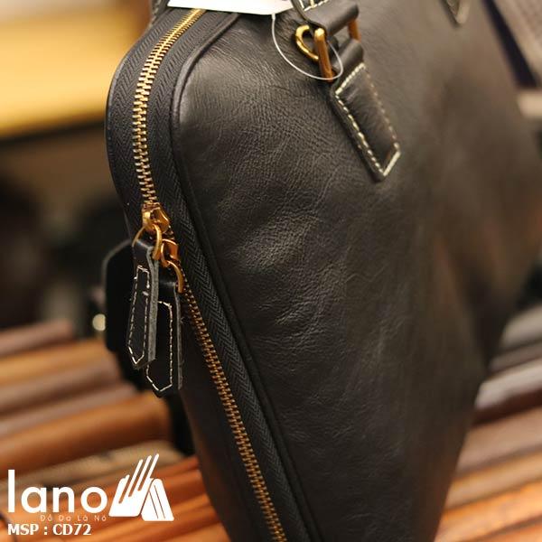Cặp xách da nam cao cấp Lano đựng Macbook đẹp độc lạ CD72 - cạnh túi
