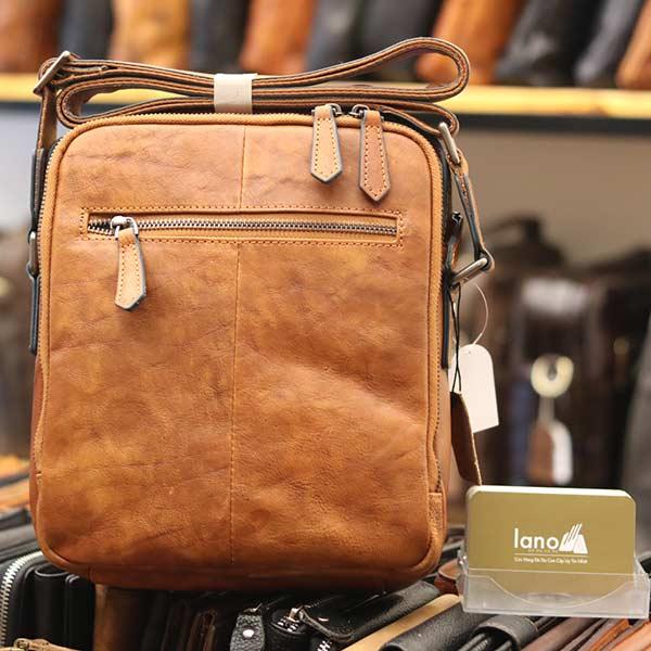 Túi da đeo chéo Lano dạng hộp đẳng cấp lịch lãm KT96 nâu vàng - mặt sau