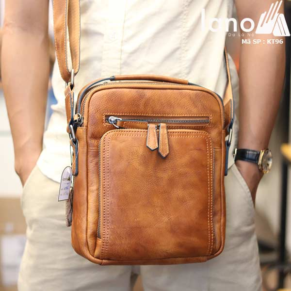 Túi da đeo chéo Lano dạng hộp đẳng cấp lịch lãm KT96 - đeo trước