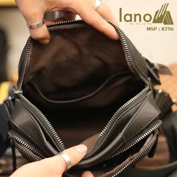 Túi da đeo chéo Lano dạng hộp đẳng cấp lịch lãm KT96 đen - bên trong